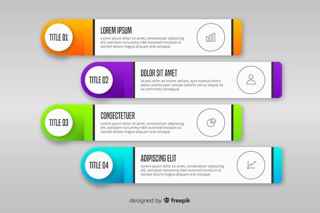 Infográfico gradiente com caixas de texto Vetor grátis
