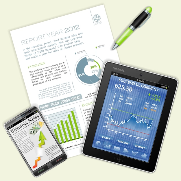 Infográfico, gráficos e notícias sobre negócios Vetor Premium
