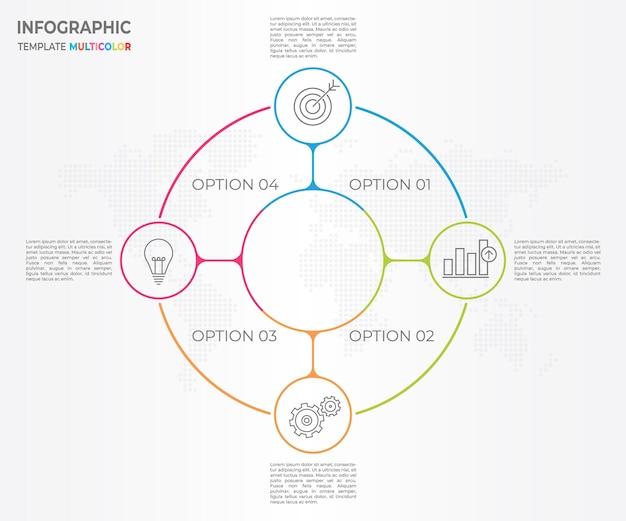 Infográfico linha fina círculo design 4 opções. Vetor Premium