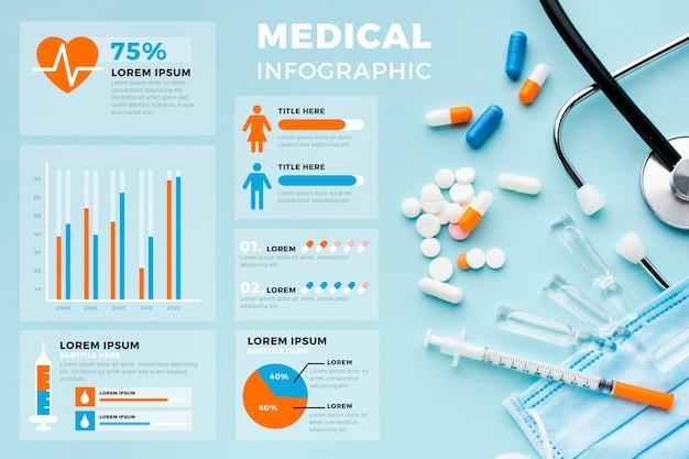 Infográfico médico com gráficos estatísticos Vetor grátis