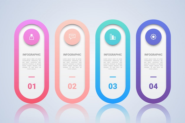Infográfico minimalista modelo para negócios com quatro etapas mul Vetor Premium