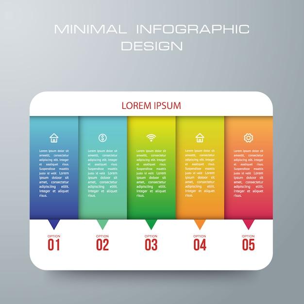 Infográfico Modelo Com 5 Opções Fluxo De Trabalho Gráfico