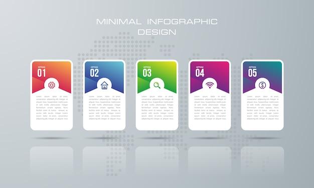 Infográfico modelo com 5 opções, infográficos design vector pode ser usado para o layout de fluxo de trabalho, - vector Vetor Premium