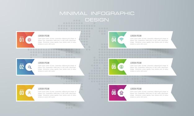 Infográfico modelo com 6 opções, infográficos design vector pode ser usado para o layout de fluxo de trabalho, - vector Vetor Premium