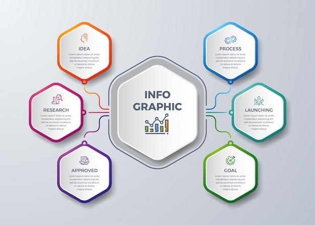 Infográfico moderno com forma de hexágono. Vetor Premium