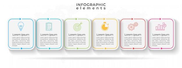 Infográfico moderno cronograma com seis opções ou passo. Vetor Premium