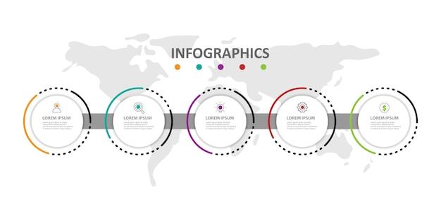 Infográfico moderno modelo com 5 opções ou etapas Vetor Premium