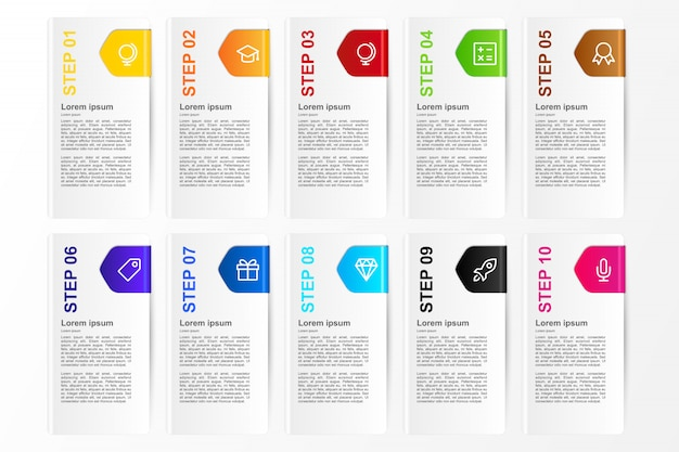 Infográfico opção de cartão de dez cores para modelo de negócio Vetor Premium