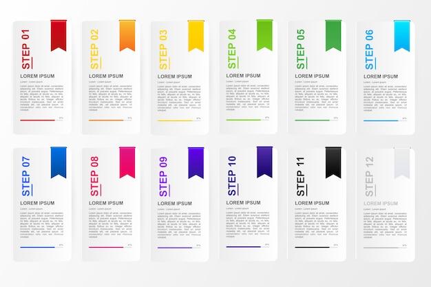 Infográfico para negócios modelo de opção de doze cores Vetor Premium
