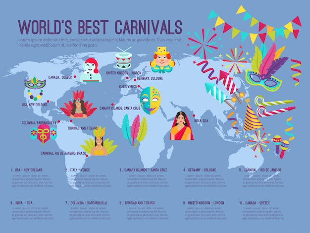 Infográfico plana de cor retratando no mapa mundos melhores carnavais com ilustração vetorial de ícones Vetor Premium