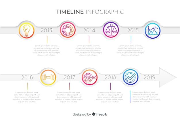 Infográfico plano com fundo de cronograma Vetor grátis