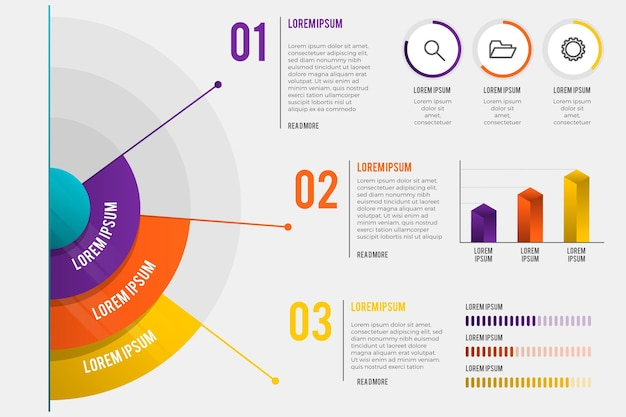 Infográfico radial gradiente Vetor Premium