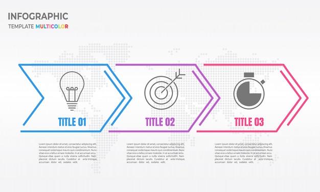 Infográfico seta fina linha 3 opções. Vetor Premium