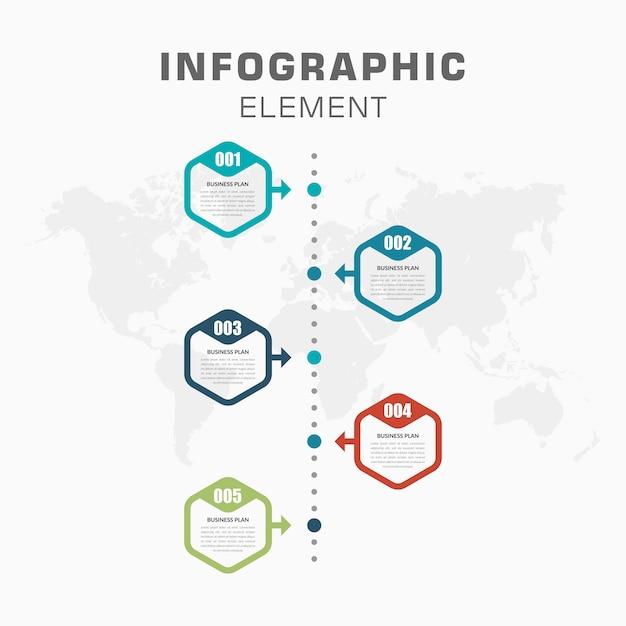 Infográfico timeline com número para estratégia de negócios Vetor Premium