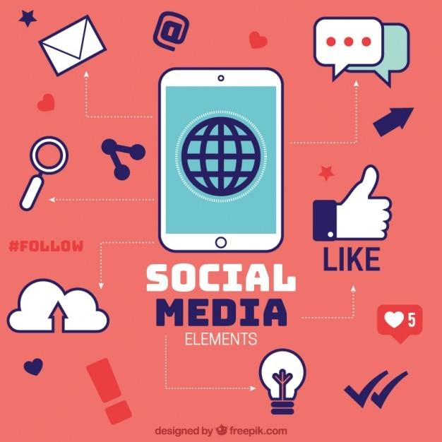 Infográfico vermelho com elementos de redes sociais Vetor grátis