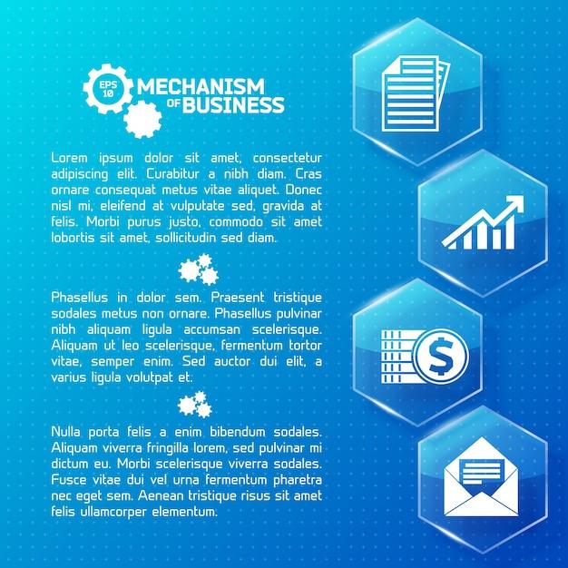 Infográficos abstratos de negócios com hexágonos de luz de vidro de texto e ícones brancos em ilustração pontilhada azul Vetor grátis