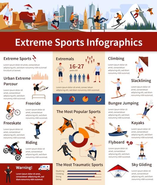 Infográficos apresentando informações sobre esportes radicais populares e mais traumáticos Vetor grátis