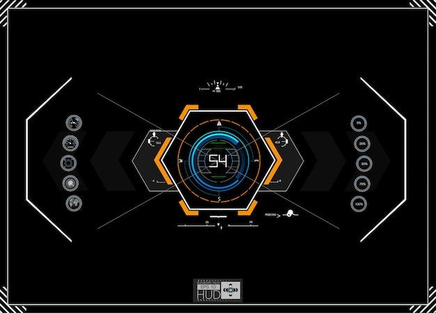 Infográficos azuis futuristas como head up display. Vetor Premium