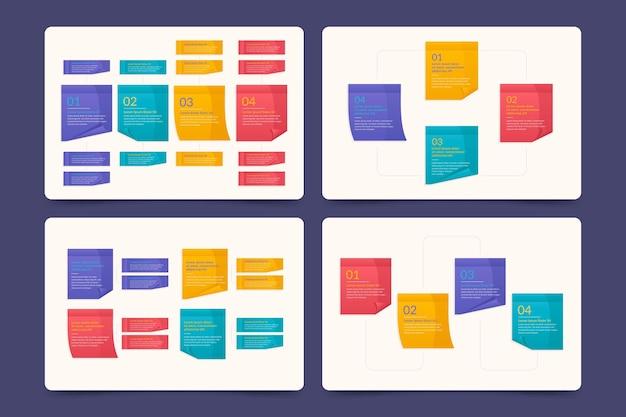 Infográficos coloridos de post-its Vetor grátis