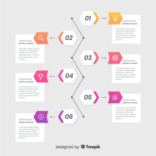 Infográficos coloridos timeline design plano Vetor grátis