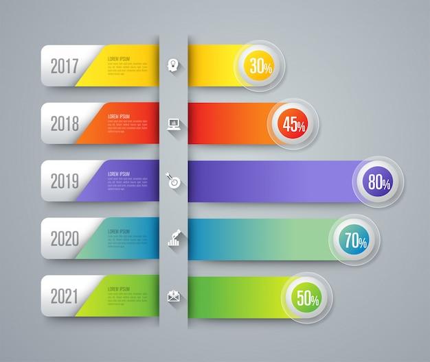 Infográficos com etapas e opções Vetor Premium