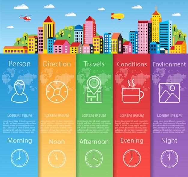 Infográficos da cidade em informações de negócios de estilo simples Vetor Premium