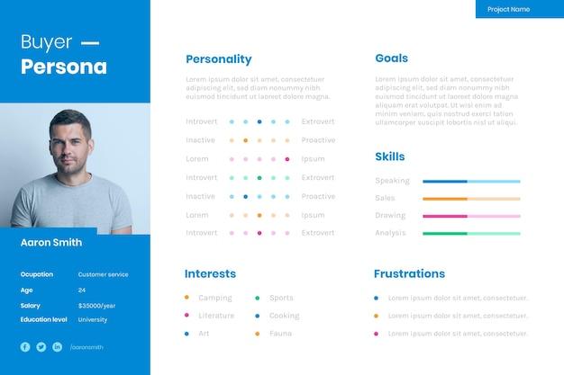 Infográficos da persona do comprador com foto Vetor grátis