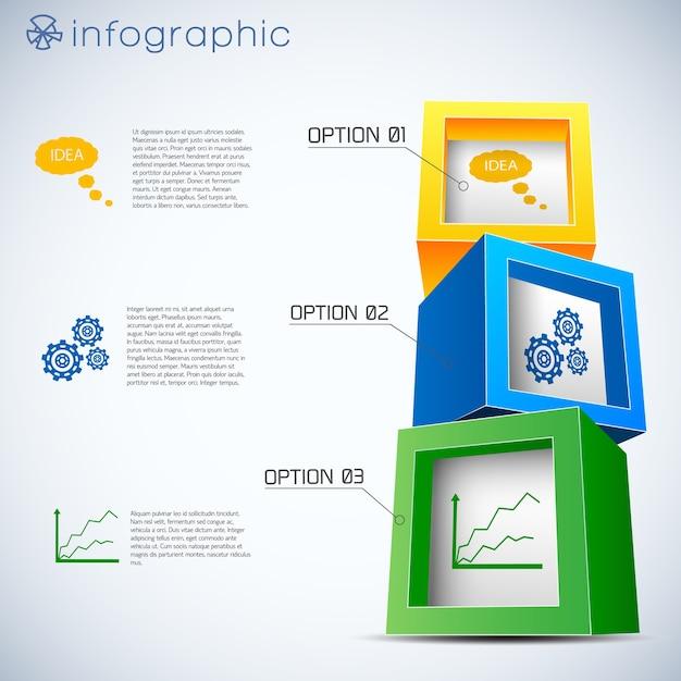 Infográficos de cubos 3d Vetor grátis