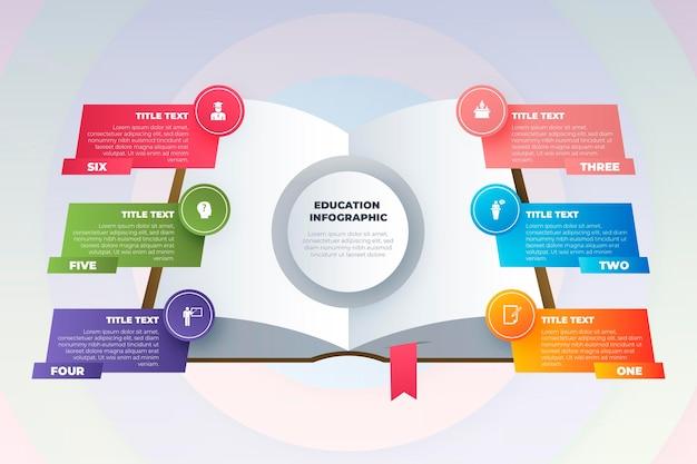 Infográficos de educação gradiente Vetor Premium