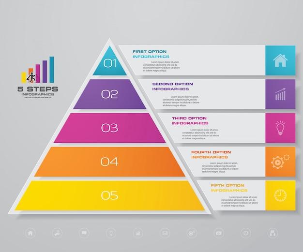 Infográficos de gráfico de pirâmide Vetor Premium