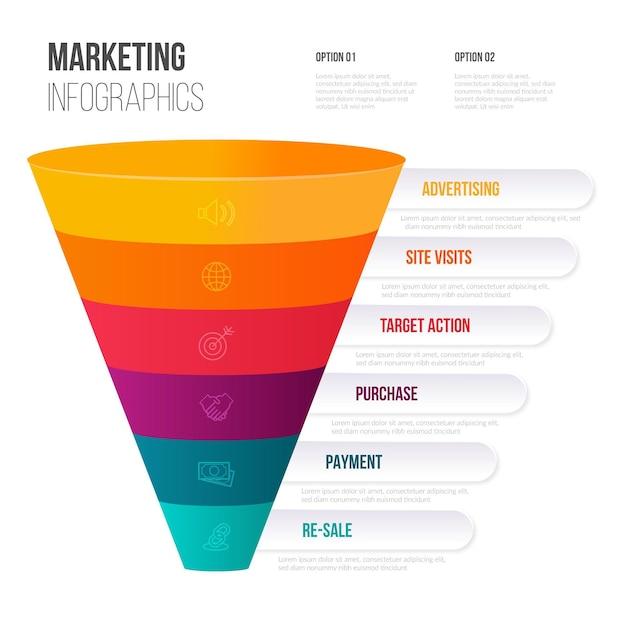 Infográficos de marketing de cone de design plano Vetor Premium