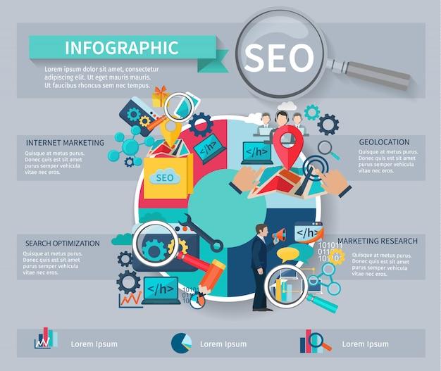 Infográficos de marketing de seo conjunto com símbolos de otimização de pesquisa de site de busca de internet Vetor grátis