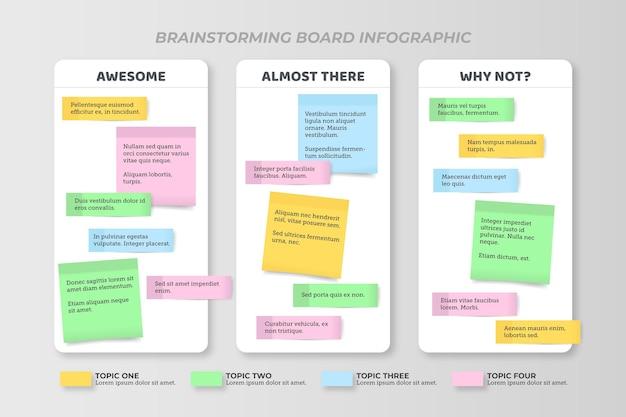 Infográficos de painéis de post-its em design plano Vetor Premium