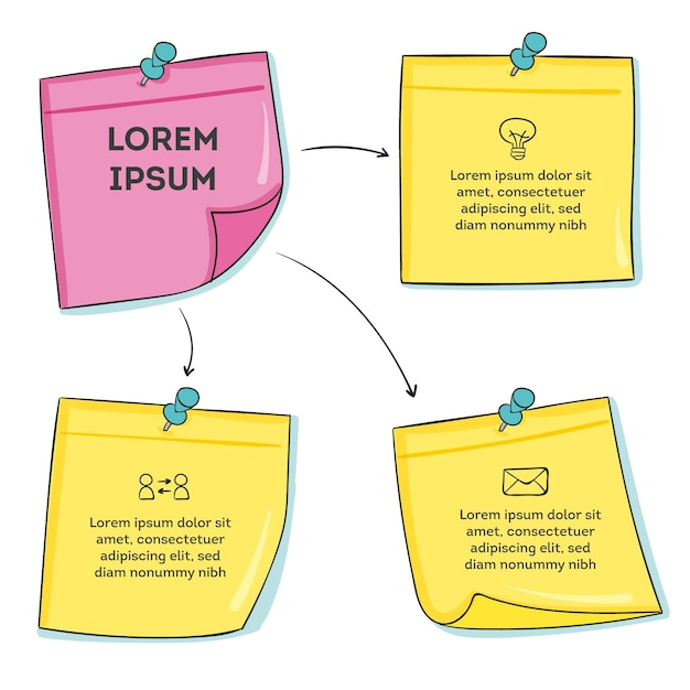 Infográficos de post-its desenhados à mão Vetor Premium