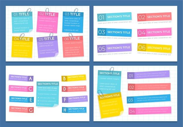 Infográficos de post-its em design plano Vetor Premium