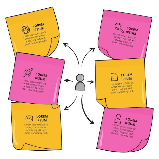 Infográficos desenhados à mão em painéis de notas Vetor Premium