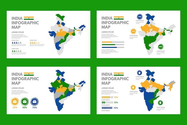 Infográficos do mapa da índia plana Vetor Premium
