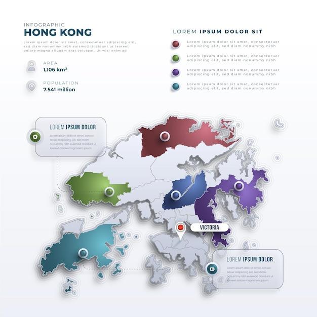 Infográficos do mapa de hong kong em estilo gradiente Vetor grátis