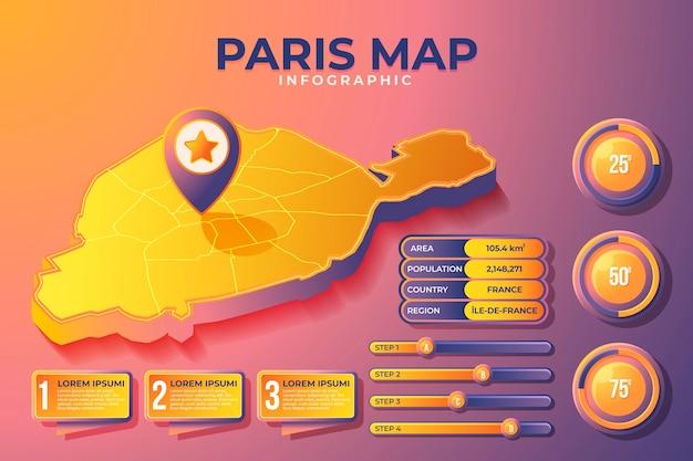 Infográficos do mapa isométrico de paris Vetor grátis