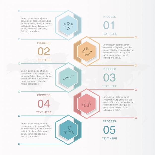 Infográficos e ícones para o conceito de negócio. Vetor Premium