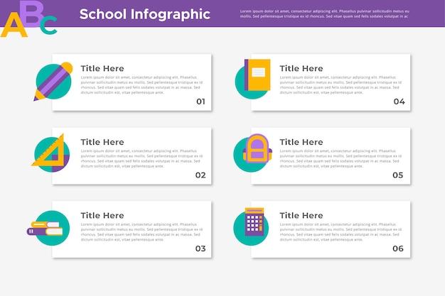 Infográficos escolares Vetor Premium