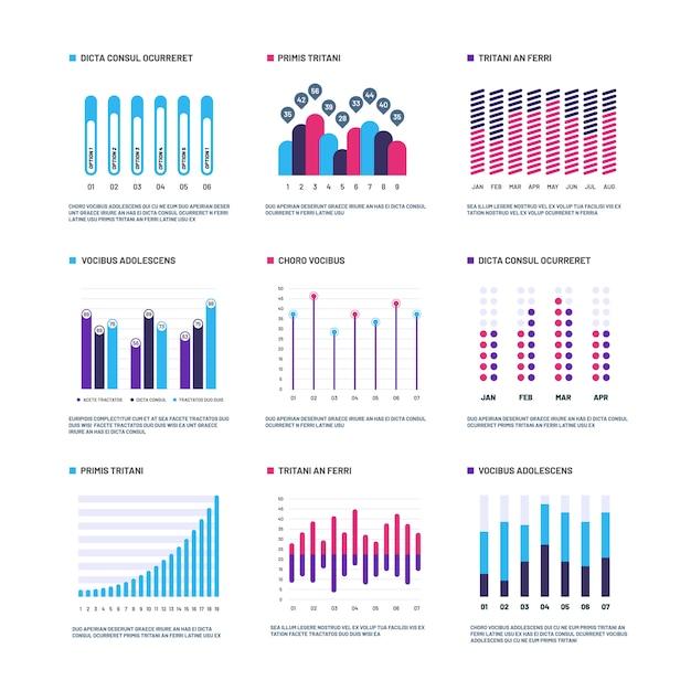 Infográficos. gráficos de marketing histograma financeiro, gráfico de barras Vetor Premium