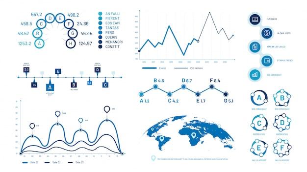 Infográficos gráficos gráficos. gráficos de dados do histograma, gráfico gráfico cronológico de bolhas e conjunto de ilustração de diagrama Vetor Premium