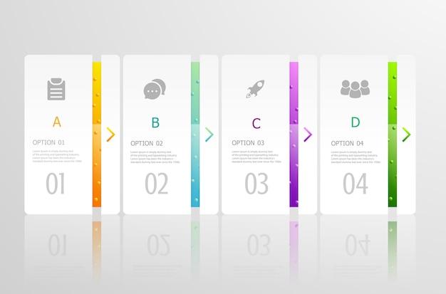 Infográficos horizontais 4 etapas Vetor Premium