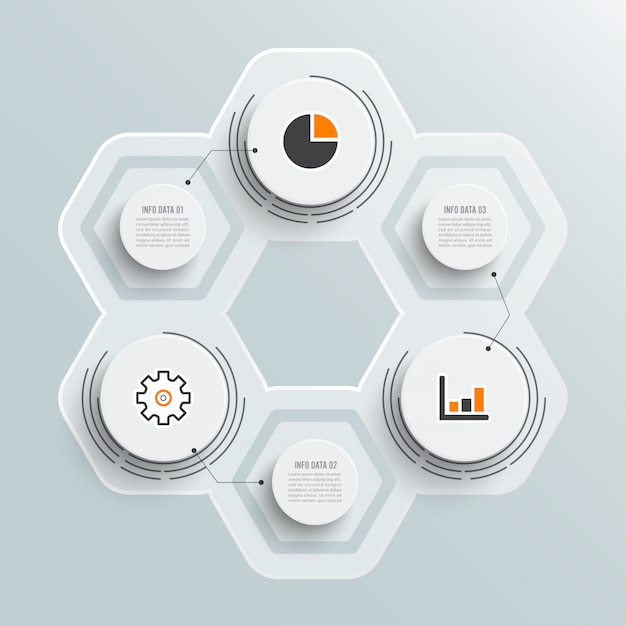 Infográficos ilustração 3 opções Vetor Premium