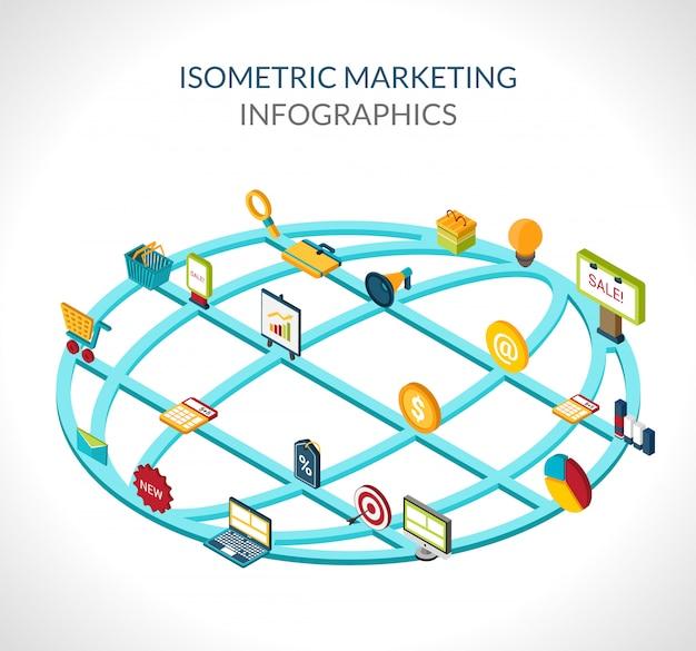 Infográficos isométricos de marketing Vetor grátis