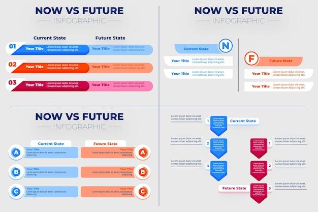 Infográficos lineares agora versus futuros Vetor grátis