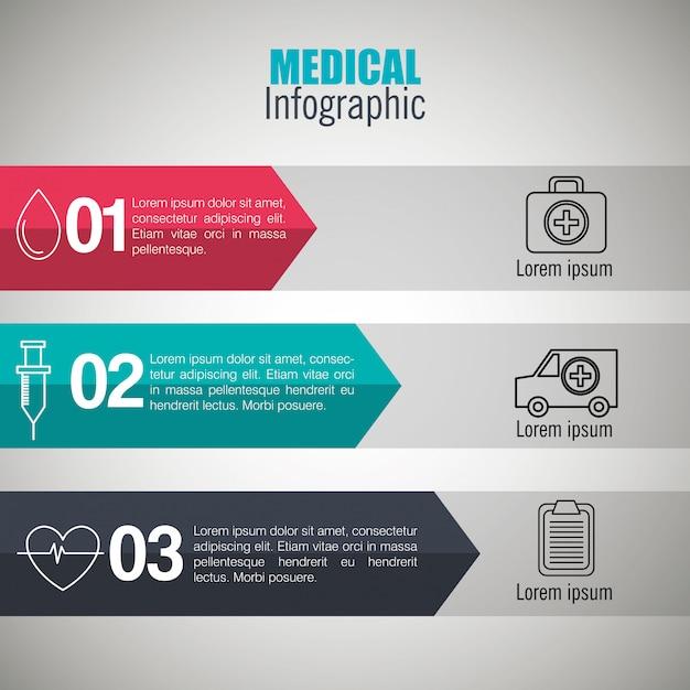 Infográficos médicos com três etapas Vetor grátis