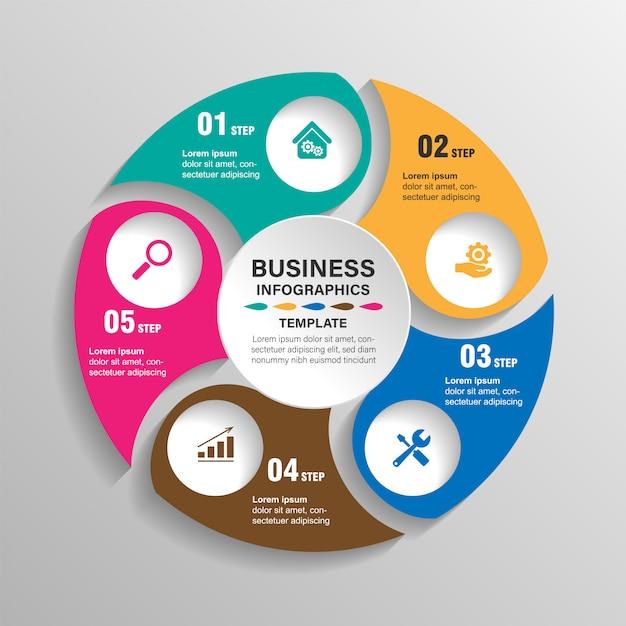 Infográficos modelo 6 opções com círculo. visualização de dados e informações. Vetor Premium