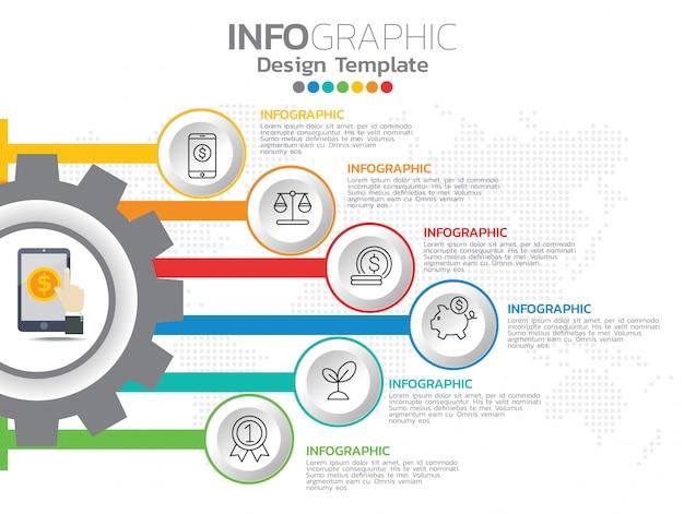 Infográficos para o conceito de negócio com ícones e 6 opções ou etapas. Vetor Premium